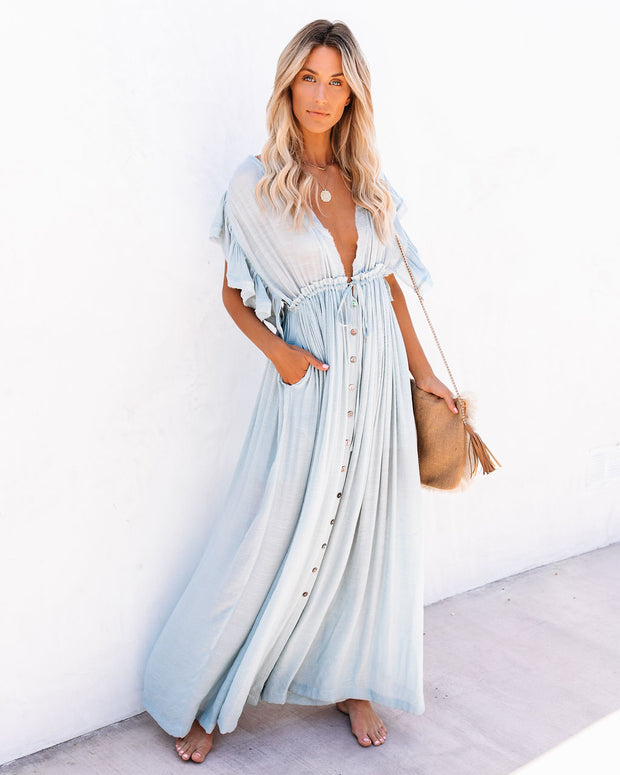 PREORDER - Anika Pocketed Button Down Ruffle Maxi Dress - Waterlily view 6