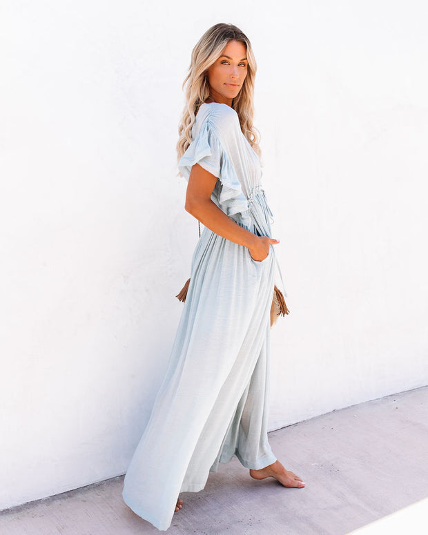 PREORDER - Anika Pocketed Button Down Ruffle Maxi Dress - Waterlily view 7