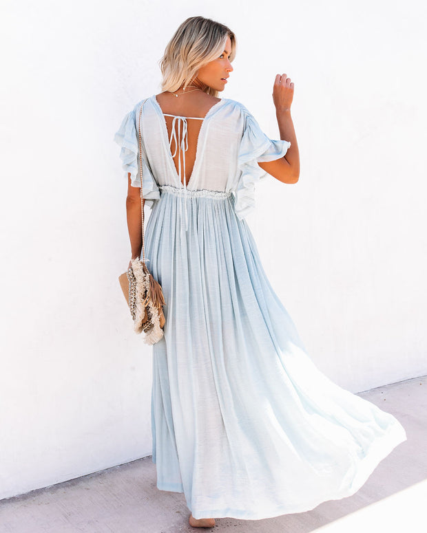 PREORDER - Anika Pocketed Button Down Ruffle Maxi Dress - Waterlily view 2