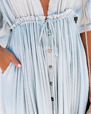 PREORDER - Anika Pocketed Button Down Ruffle Maxi Dress - Waterlily view 4