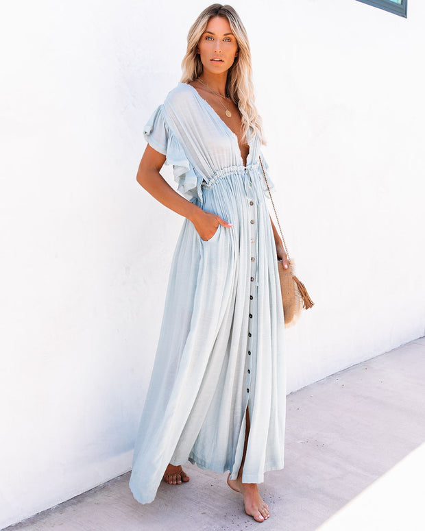 PREORDER - Anika Pocketed Button Down Ruffle Maxi Dress - Waterlily view 8