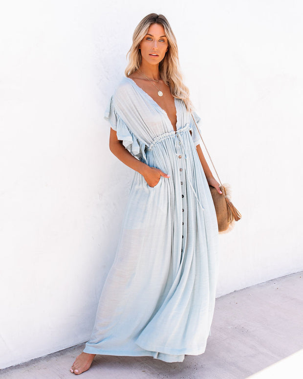PREORDER - Anika Pocketed Button Down Ruffle Maxi Dress - Waterlily view 3