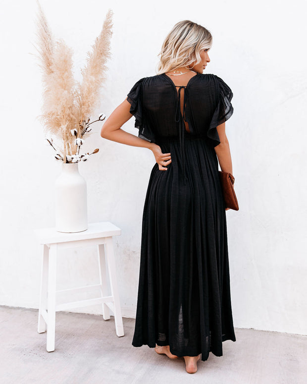 Anika Pocketed Button Down Ruffle Maxi Dress - Black