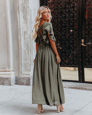 Anika Pocketed Button Down Ruffle Maxi Dress - Olive