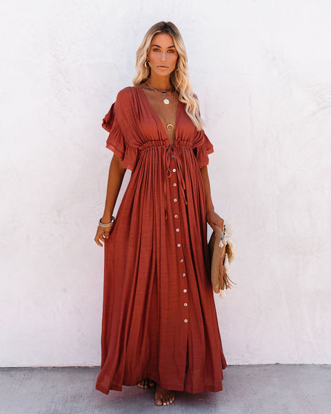 PREORDER - Anika Pocketed Button Down Ruffle Maxi Dress - Terracotta