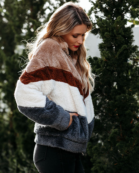Animate Pocketed Chevron Fuzzy Knit Jacket