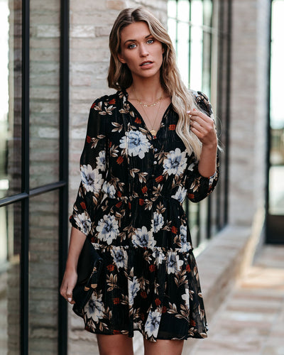 Anthony Floral Tiered Shimmer Dress - FINAL SALE