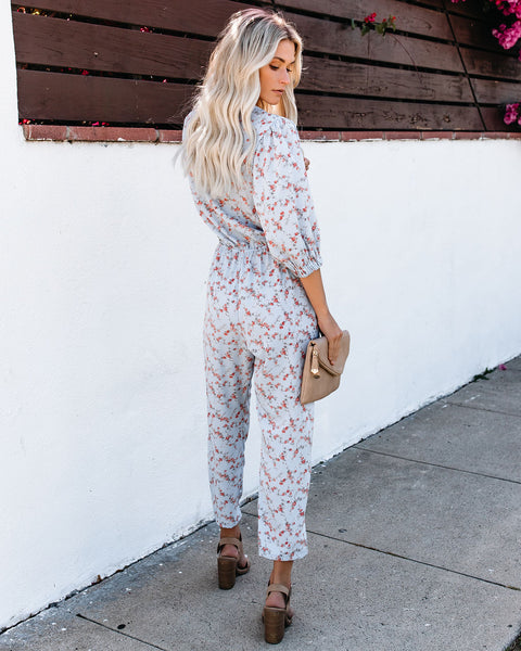 Antique Floral Pocketed Jumpsuit - FINAL SALE