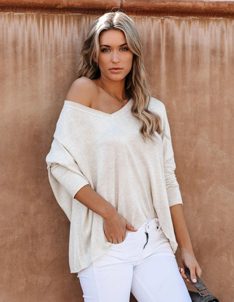 Anwar Soft Knit V-Neck Top - Oatmeal