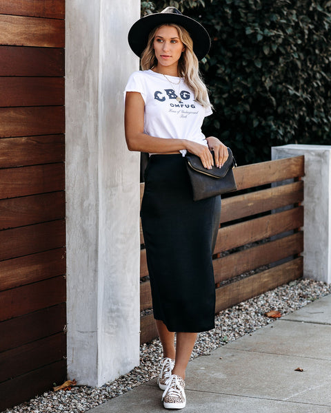 Anything Goes Satin Slit Midi Skirt - Black