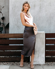 Anything Goes Satin Slit Midi Skirt - Charcoal  - FINAL SALE