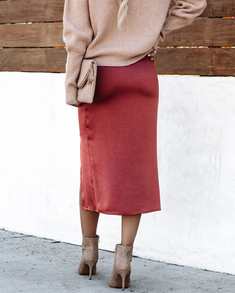 Anything Goes Satin Slit Midi Skirt -Rust - FINAL SALE