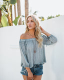 Aphrodite Off The Shoulder Boho Blouse - Dusty Blue - FINAL SALE