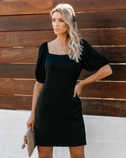 Apple Of My Eye Puff Sleeve Dress - Black - FINAL SALE