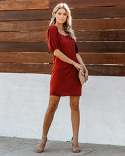Apple Of My Eye Puff Sleeve Dress - Wine - FINAL SALE