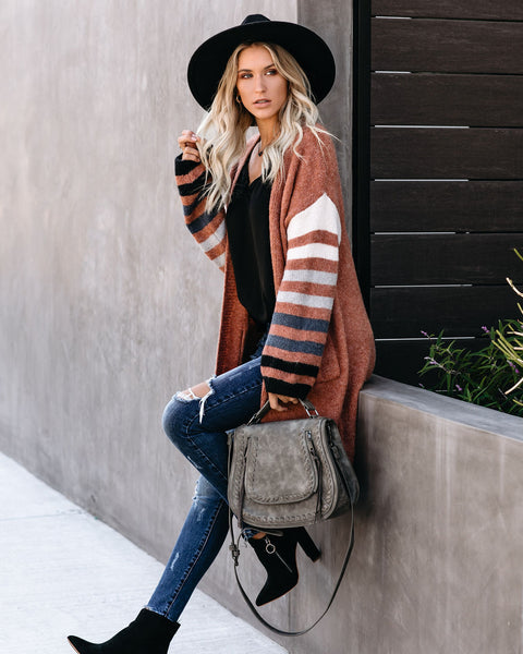 Appleseed Striped Pocketed Cardigan - Clay