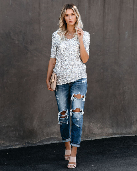 A Pretty Penny Sequin V-Neck Top