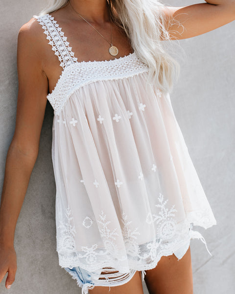 Arcadia Embroidered Crochet Lace Tank - Off White - FINAL SALE