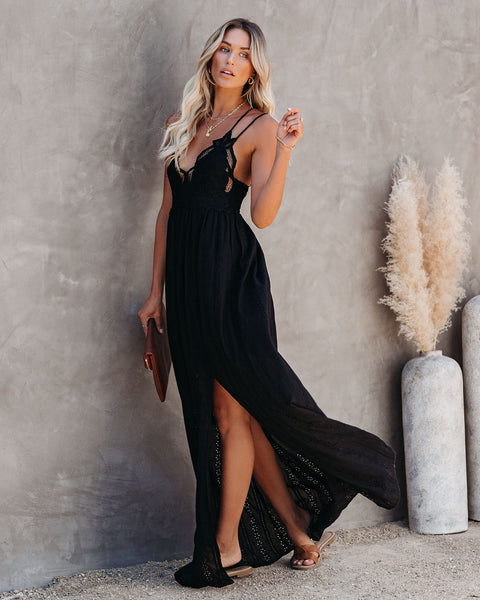 Archer Pocketed Lace Eyelet Maxi Dress - Black
