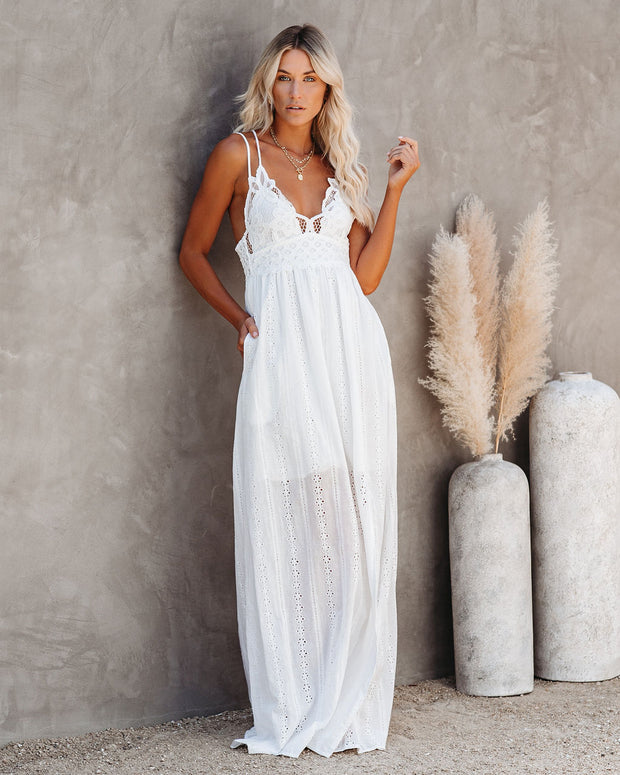 Archer Pocketed Lace Eyelet Maxi Dress - Ivory
