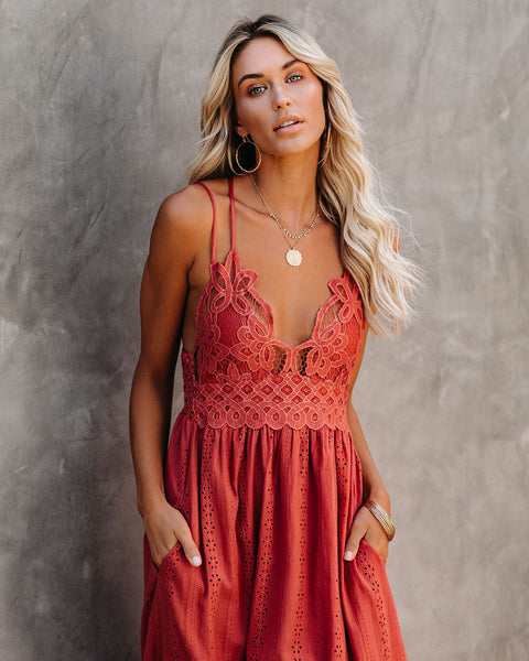 Archer Pocketed Lace Eyelet Maxi Dress - Rust
