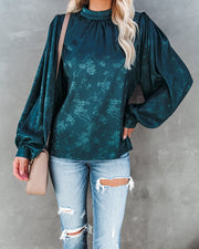 Aretha Satin Embossed Balloon Sleeve Blouse - Dark Teal