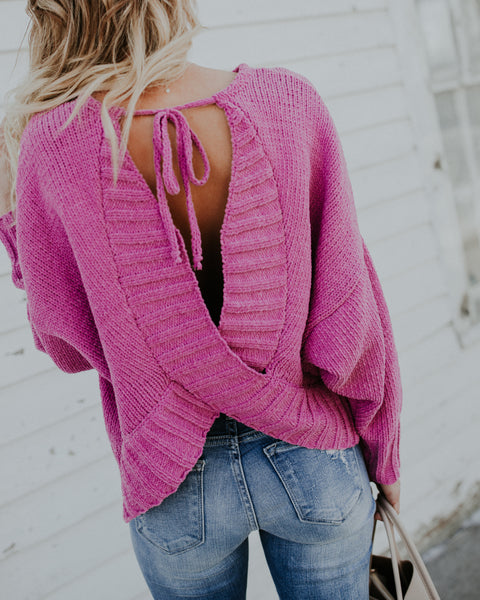 Ariella Open Back Knit Sweater - Orchid