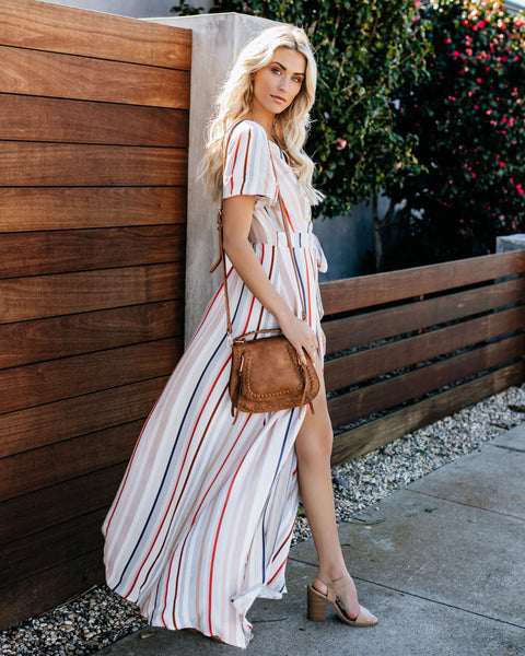 Arizona Striped Wrap Maxi Dress
