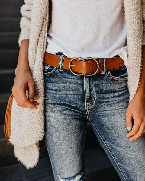 PREORDER - Arlee Double Buckle Faux Leather Belt - Tan