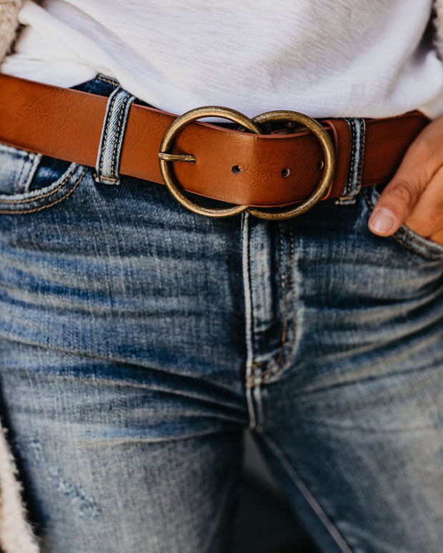 Arlee Double Buckle Faux Leather Belt - Tan view 4