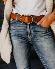 Arlee Double Buckle Faux Leather Belt - Tan view 5
