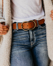 Arlee Double Buckle Faux Leather Belt - Tan view 7
