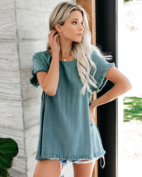 Around The Edge Fringe Cotton Blend Top - Lagoon