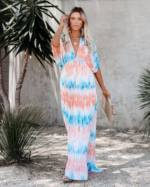 Artistic Flare Pleated Tie Dye Maxi Dress
