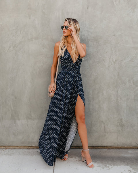 Asana Aztec Maxi Dress - Navy