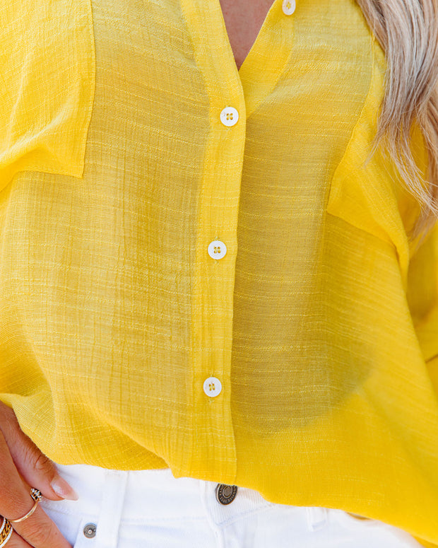 Asana Woven Button Down Top - Bright Yellow view 4