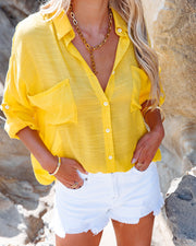 Asana Woven Button Down Top - Bright Yellow view 5