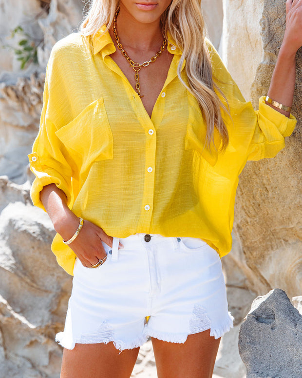 Asana Woven Button Down Top - Bright Yellow view 8