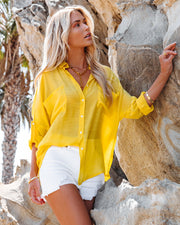 Asana Woven Button Down Top - Bright Yellow view 3
