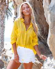 Asana Woven Button Down Top - Bright Yellow view 1