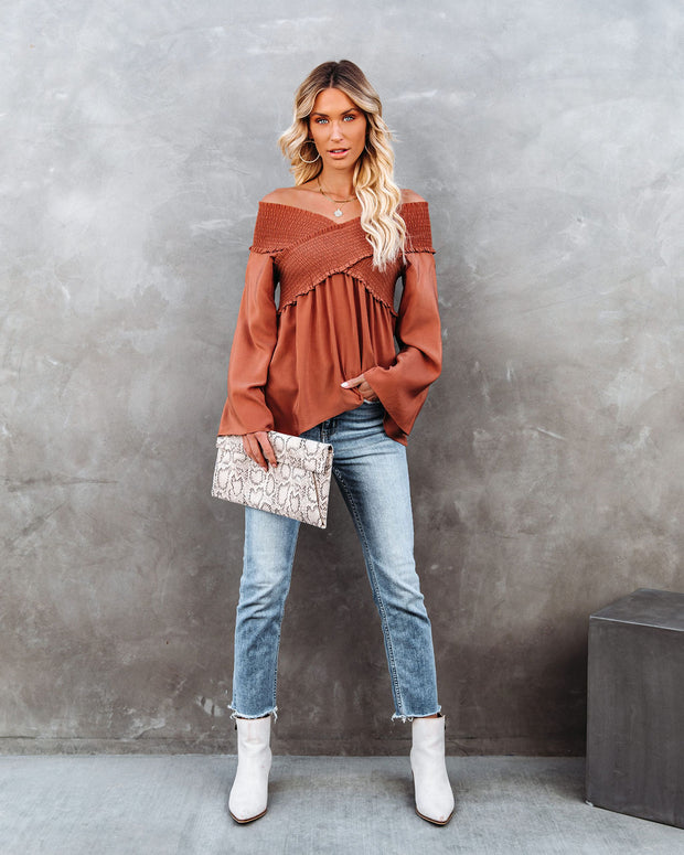 Ascension Smocked Off The Shoulder Top - Canyon