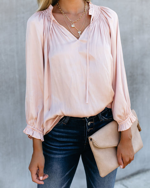 Ashlyn Satin Blouse - Blush