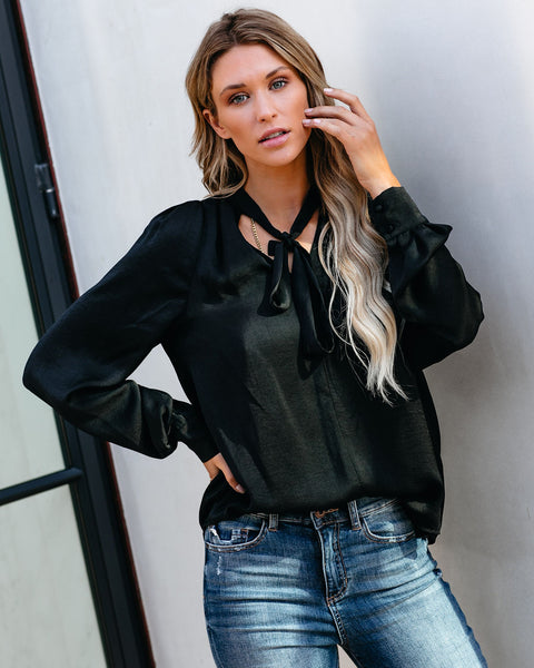 Ashton Satin Blouse - Black - FINAL SALE