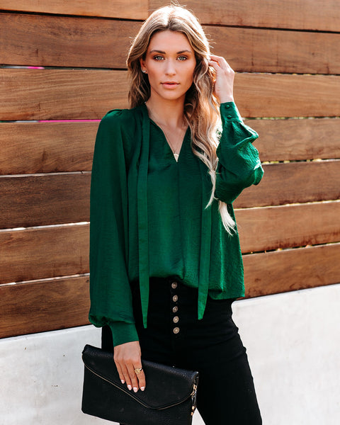 Ashton Satin Blouse - Emerald
