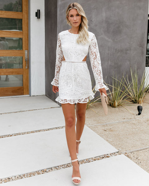 As You Wish Long Sleeve Lace Cutout Dress