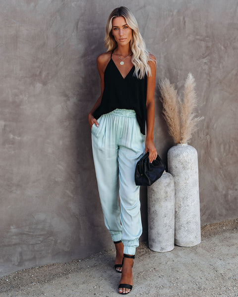At A Glance Pocketed Satin Joggers - Seafoam