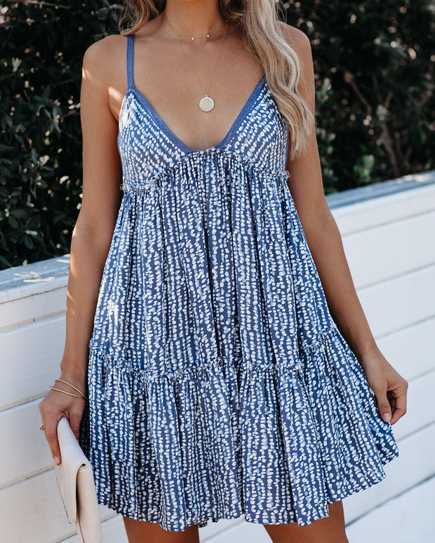 A Tale Of Time Printed Babydoll Dress - Blue