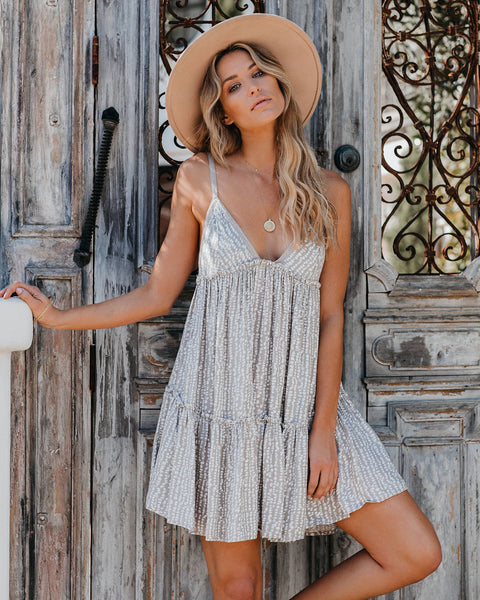 A Tale Of Time Printed Babydoll Dress - Taupe