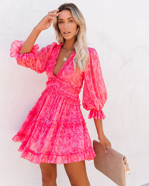 At First Blush Ruffle Tiered Dress