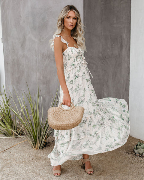 At First Sight Floral Smocked Ruffle Maxi Dress - FINAL SALE